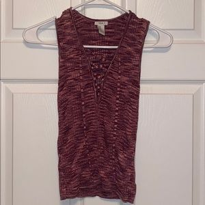 forever 21 knitted lace up tank top